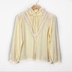 Yellow Vintage Victorian Style Blouse 1980's